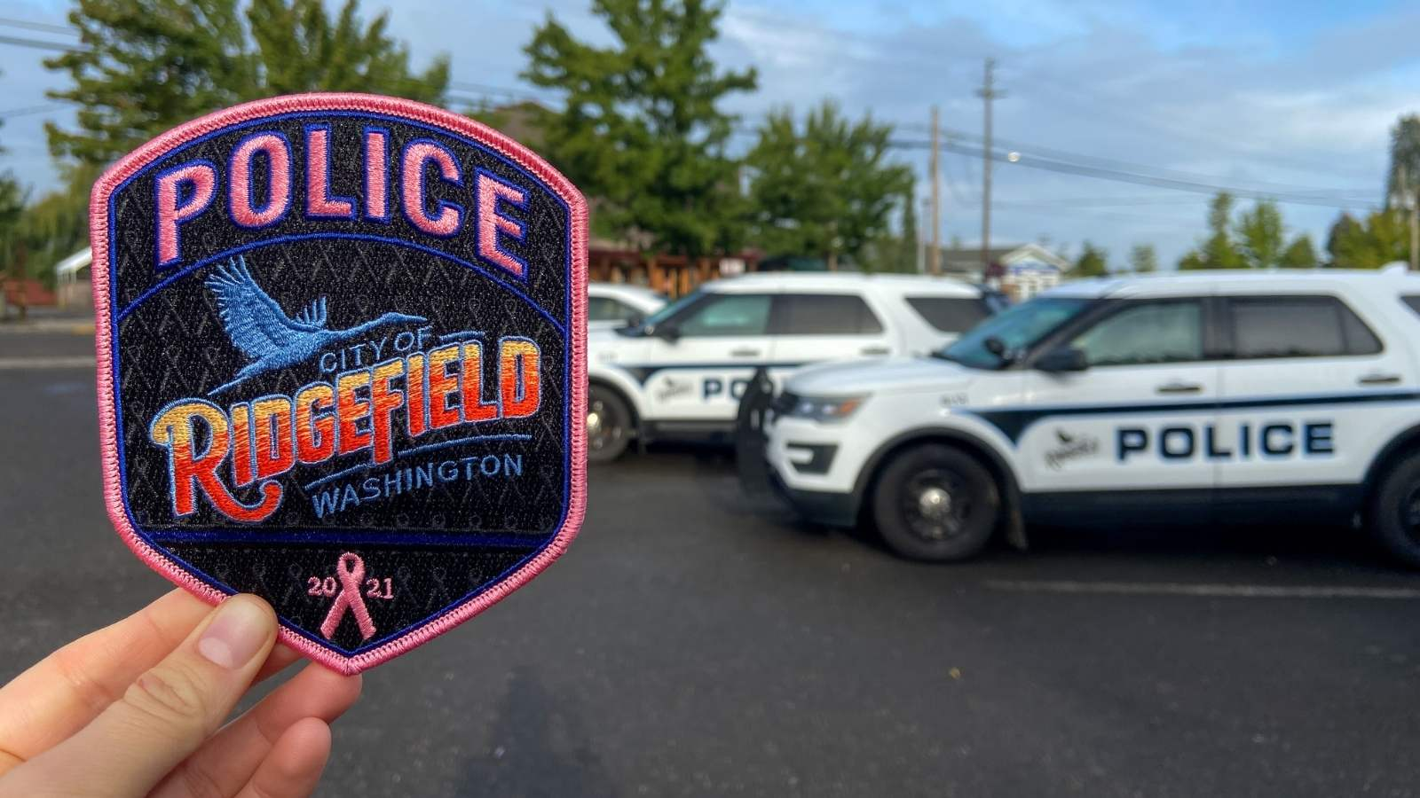 A hand holding a pink police department patch in front of a police car.