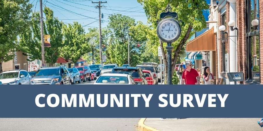 """Photo of City Street with text overlay that says """"COMMUNITY SURVEY"""""""